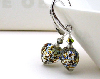 Murano Glass Puffy Heart Dangle Earrings, Silver and Venetian Glass Dangle Earrings, Gift for Girlfriend, Under 75