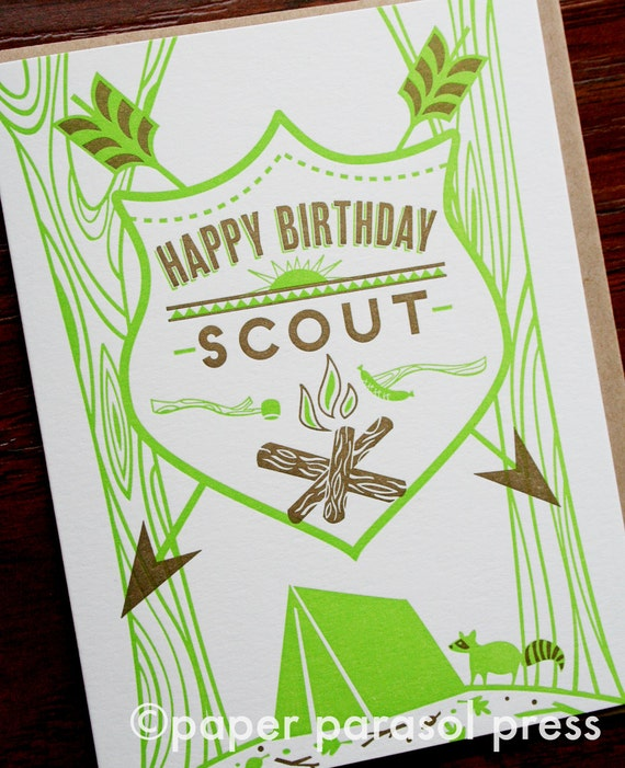 Happy Birthday Scout  Letterpress Printed Camping Birthday Card