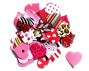 Hearts...Fabric Iron On Appliques...Set Of 25 Hearts In All