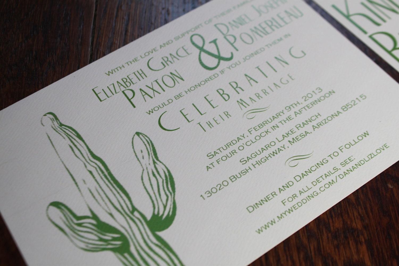 Wedding Invitations Az: Desert Wedding Invitation, Cactus, Tumbleweed, Green