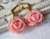 Coral Pink Rosebud Earrings, Coral Flower Earrings, Dangle Earrings, Bridesmaid Gifts, Gold Earrings