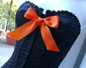 WITCHES orange N black creepy corset HALLOWEEN boned bow basque 32 - 34 inch bust