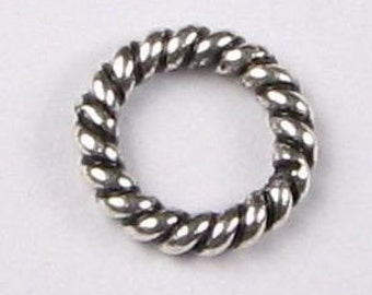 8mm Antiqued Bali Sterling Silver Twisted Rings (10 beads)