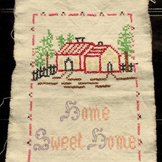 Vintage Home Sweet Home Needlework Embroidery Sampler