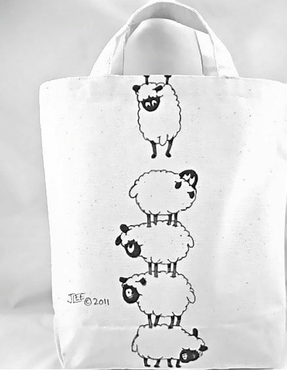 ILLUSTRATION ART: Tote Bag featuring The Great Escape/ Illustration Escaping Sheep OOAK