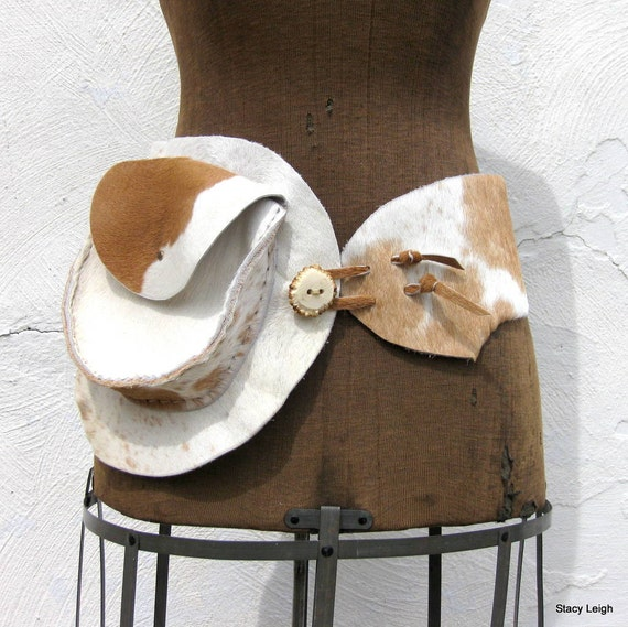 Hair on Cowhide Belt Light Brown and White Size 32 inch (can be made smaller) by Stacy Leigh Ready to Ship
