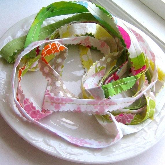 Ribbon, Fabric Ribbon, Fabric Trim, Sewn Fabric Ribbon, Frayed Fabric Ribbon, Fabric Ribbon by the Yard, 4 Yards - No. 91