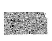 Kansas - typography map a...
