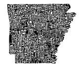Arkansas typography map a...