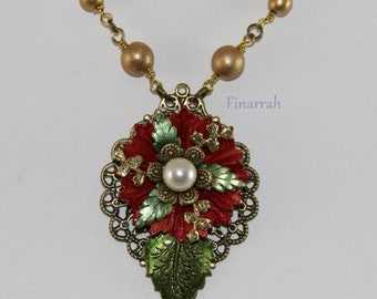 Filigree Necklace - Red Flower with Pearl Center