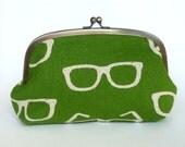 Green and Cream Ray Ban Spectacle Glasses Print Cosmetic Purse, Makeup Bag, Handbag Organizer