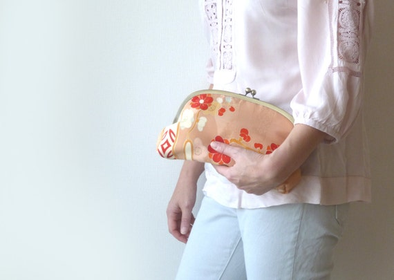 Japanese Silk Kimono Clutch Bag - Peach and Red Japanese Blossom Kimono Silk Evening Purse with Terracotta Lining