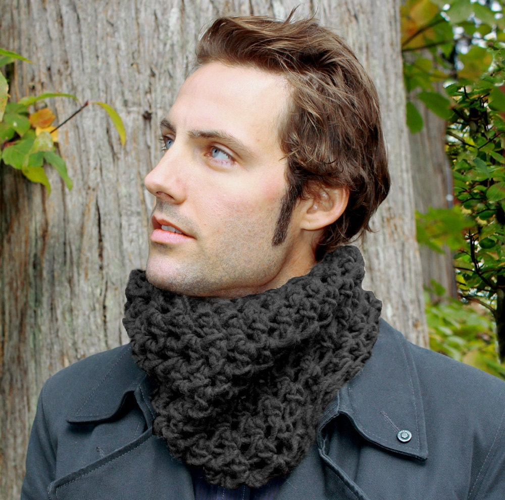 The Mowl Mens Cowl neck scarf warmer scarflette charcoal black Cowl Neck Scarves Men