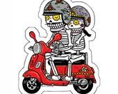 Scooter Calaveras Die Cut Vinyl Sticker