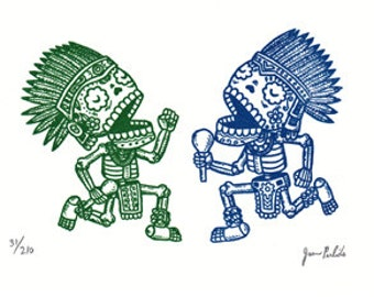 Aztec Calaveras Limited Edition Gocco Screenprint
