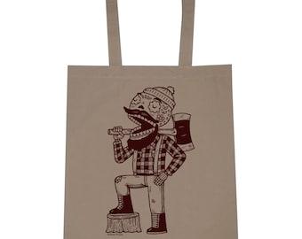Lumberjack Calavera Canvas Shopping Tote Bag