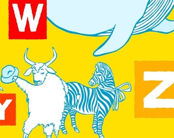 Zukzuk Animal Alphabet Wall Art Print - Personalized