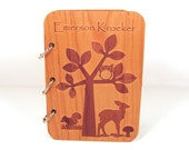Woodland Baby Shower Guest Book - Real Wood Engraved Cover - Personalized
