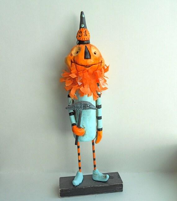 Pumpkin Head with crow wand-clay folk art sculpture READY TO SHIP