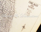 Chicago VIntage Map - 1940s Chicago - Cool Gifts for Men - Original Vintage Chicago Map in Black and White