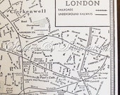 London - Vintage Map of London - Original 1940s Vintage London Underground Map in Black and White