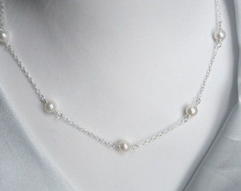 Pearl necklace with sterling silver chain, Freshwater pearl, wirerapped pearl chain