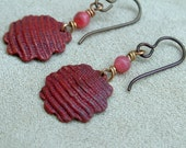 Fluted Copper Shell Earring Flame Patina