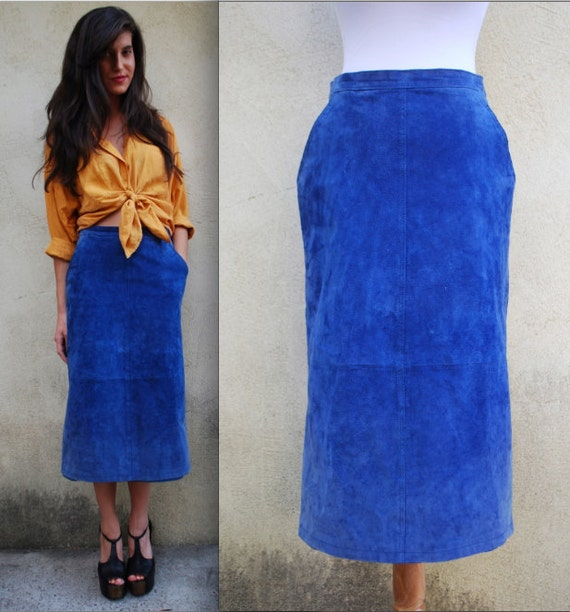 vintage 70s 80s cobalt blue suede leather pencil skirt size