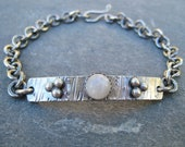 Moonstone and Oxidized Sterling Silver Bracelet with Granulation ID Tag Bracelet boho rustic chain rollo style statement artisan handmade