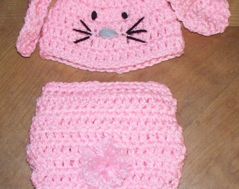 Hand Made Crochet Bunny Hat and Diaper Cover for a Girl-Photo Prop for Baby Newborn
