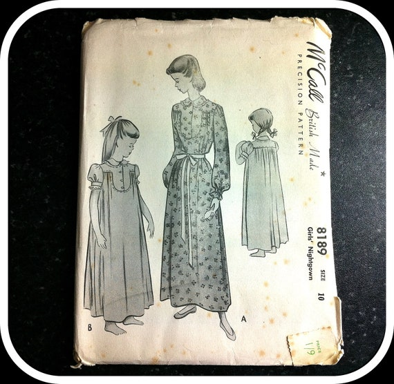 Vintage Paper Pattern - McCall British Made Precision Pattern 8189 - Girl's Nightgown size 10 years 1930s-1940s