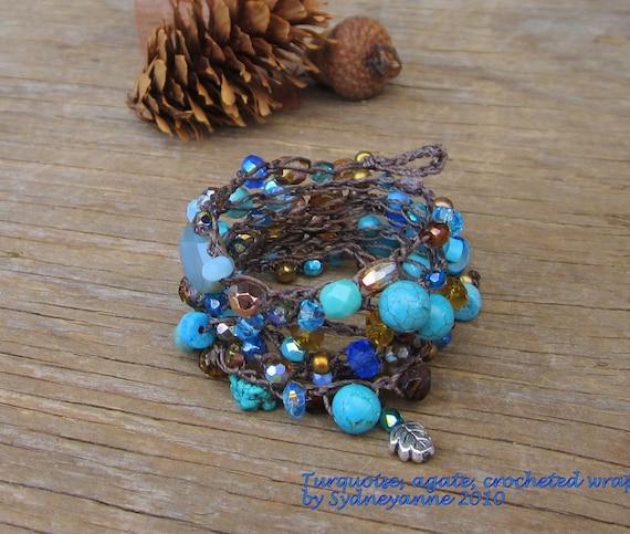 Tuscany crocheted gemstone wrap bracelet 5 times, boho, natural, crocheted bracelet, earthy, turquiose