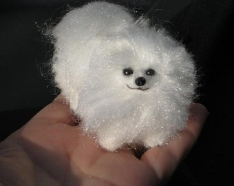 Needle Felted Dog / Custom Miniature Sculpture of your pet / Cute/ poseable/ Fantasy Pomeranian Crystal  small size