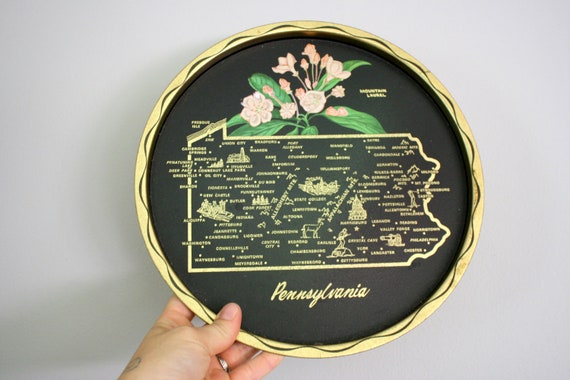SALE Pennsylvania PA State Tray Souvenir Travel Collectible Bar Cocktail