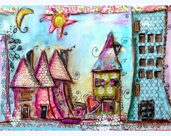 Print mixed media, house prints, colorful, whimsical, bold colors