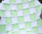 Only for boys Soft and sweet green and white minky baby rag quilt 32x41