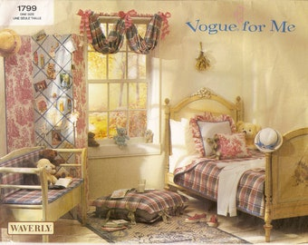 Vogue 1799, Sewing Pattern, Waverly, Vogue For Me, Girls Bedroom, Twin Bed, Bedcover, Bench Pad, Screen, Valance,Pillow,Uncut Pattern,Unique