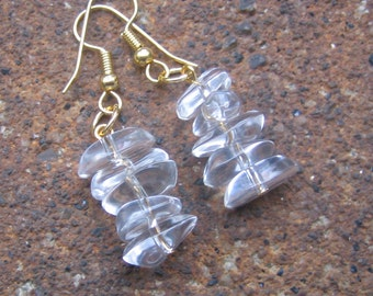 Eco-Friendly Dangle Earrings - Moments of Clarity - Short Stacks of Clear Recycled Vintage Nugget Beads for Pierced Ears
