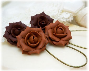 Brown Rose Dangle Earrings - Brown Rose Drop Earrings