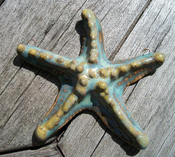 Handmade Ceramic Turquoise Starfish Focal Pendant