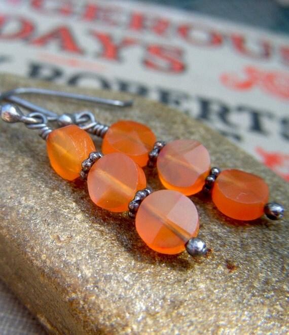 Carnelian Earrings on Oxidized Sterling . Stacked Round Orange Gemstone Petite Dangle . Ripe Mango
