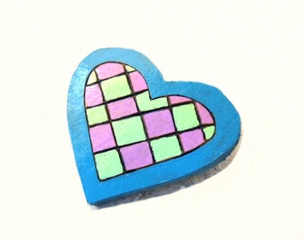Brooch Woodburned Heart Painted Gourd Pin Lime Blue Pink