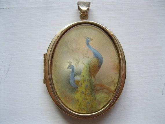Vintage pheasant perfume locket