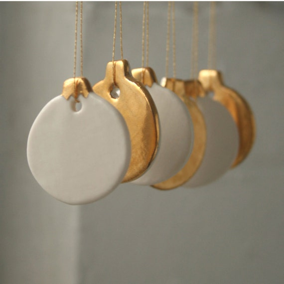 Mini Bauble Decoration Set, 6 real gold lustre porcelain ornaments