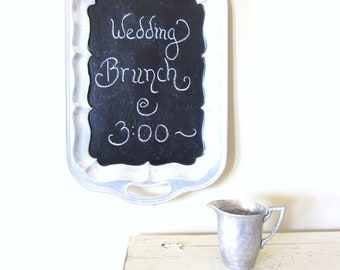 Wedding Chalkboard, Kitchen Memo Board, Vintage Silver Tray Chalkboard, Wedding Sign, Signage, Party Menu Board, Blackboard Sign