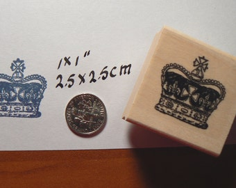 Crown rubber stamp WM and measures 1x1