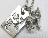Wolf Girl with Silver Wolf Charm Necklace