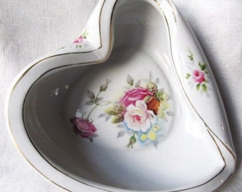 Vintage 1960's Heart's Delight Pink Roses Heart Shaped Candy Dish, Hand Painted