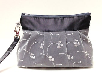 Wedding Clutch Zippered Wristlet Purse - White Lace on Charcoal Gray Taffeta