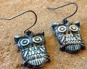 FUN fund - shabby white patina owl earrings
